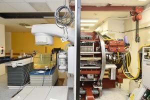 Lineární urychlovač se používá v onkologické radioterapii (ozařování). Foto odhaluje útroby přístroje při servisu a testování.